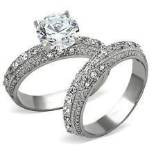 4 CT Anillos de acero para compromiso y de bodas y promesa y matrimonio 2Pieces