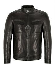 ELEGANT Mens Leather Jacket Semi Veg Tanned Black Casual Italian Lambskin Jacket