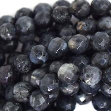 "Natural Faceted Grey Labradorite Larvikite Round Beads 15"" Strand 6/8/10/12mm"