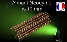 Aimant Néodyme Cylindrique Barre N50  5X10 MM Trés puissant Port Gratuit
