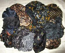 LOT PURE SILK Antique Vintage Sari REMNANT Fabrics 100 GRAMS Black Scraps #ABW2P