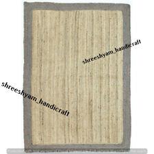 Indian Breided Natural Handmade Cotton and Jute Floor Rug Yoga Mat Carpet Decor