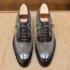 Zapatos para hombre negro gris hecho a mano, vestido Formal Oxford Suede & Leather Zapatos-Todos los Tamaños