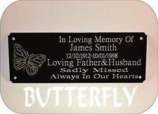 Personalised Memorial Panchina Placca Segno Farfalla qualsiasi formulazione desideri 160x55