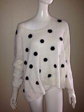 Victoria's Secret Angora Swing Pull Over Polka Dot Sweater Top Ivory White Black