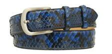 Cintura 4 cm in Vera Pelle di Pitone Blu con fodera Nabuk e fibbia Nichel free
