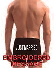 PERSONALISED MEN BOXER SHORT UNDERWEAR GROOM BEST MAN JUST MARRIED WEDDING GIFT