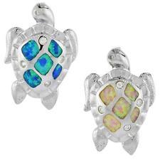 Sterling Silver Sea Turtle Slide Pendant w/ Opal & CZ Stones