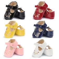 Newborn Baby Girl T-Bar Pram Shoes Faux Leather Pre Walker Bowknot Shoes 0-18 M
