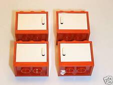 LEGO® Eisenbahn 4 kleine rote Schränke mit Tür aus 7897 - NEU