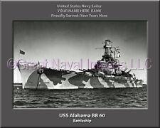 USS Alabama BB 60 Personalized Canvas Ship Photo Print Navy Veteran Gift
