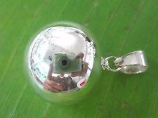 100% REAL925 sterling silver Plain Polished 16mm MUSICAL Ball Pendant GIRL WOMEN