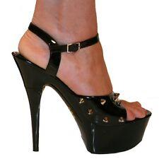 Erosella Amy Stud Sexy Fetish Style Studded Sandals Black Patent