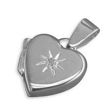 Men's Sterling Silver Cubic Zirconia In Starburst Plain Heart Locket