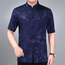 Men Satin Silk Tang Shirt Tops Dragon Print Short Sleeve Frog Button Down Summer