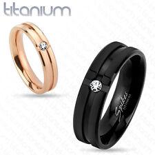 Titanio Anillo Zirconia Cz Piedra Rosa Dorado Oro Negro Pareja Elegante