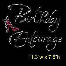 Birthday Entourage Rhinestone Diamante Hotfix Iron on Transfer  + Free Gift