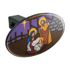 Nativity Scene Baby Jesus Mary Joseph Oval Tow Trailer Hitch Cover Plug Insert