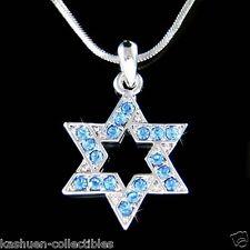 Hanukkah w Swarovski Crystal ~Blue STAR OF DAVID judaism jewish Pendant Necklace