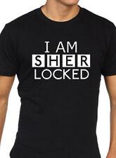 Sherlock Holmes funny t shirt fan i am sherlocked mens black
