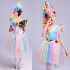 US Stock Unicorn Rainbow Costume Kids + Headband Halloween Girls Party Dress