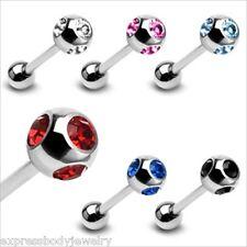 "1 PIECE 14g 5/8"" Multi 6MM 4 Gem Cz Balls Straight Barbell Nipple Ring"
