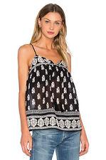 NWT $208 JOIE 'Chatham' Border Print Cotton Silk Camisole Blouse Tassel S M L
