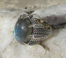 RX Ring Drache Klaue Kralle hält Labradorit Stein des Löwe Sterling Silber 925