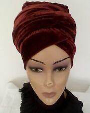 Winter scarfs Ladies Velvet Stretch Turban wraps LONG TAIL cap hair loss/ Chemo