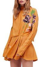 Free People MUSTARD Gemma Floral Tie Neck Back Mini Dress - $108