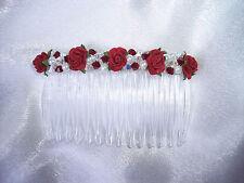 SILK ROSE SWAROVSKI CRYSTAL & PEARL SMALL HAIR COMB BRIDE BRIDESMAID PROM
