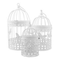 Deko Metall Vogel Käfig Dekokäfig im Shabby Look weiß mit Schmetterling