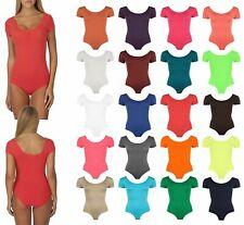 Ladies Round Neck Cap Short Sleeve Leotard Bodysuit Top Size 8-14
