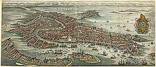 1636 Venice Italy Map Vintage Historic Wall Poster Home Office Venezia Venetia