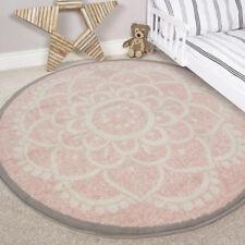 Kids Cream Blush Pink Round Bedroom Rug Circle Floral Circular Nursery Mats UK
