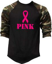 Pink Breast Cancer Ribbon Camo Baseball Raglan T Shirt Faith Hope Support V392