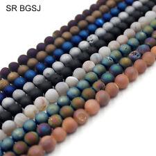 Natural 8mm Round Matte Geode Agate Gemstone Jewelry Making Beads Strand 15''