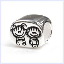STR Silver Brother & Sister Boy Girl Kid Family Bead f/ European Charm Bracelet