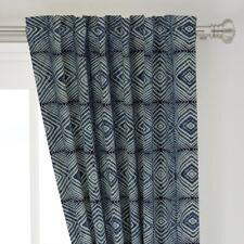 "Indigo Shibori Boxes Geometric Tiedye Box 50"" Wide Curtain Panel by Roostery"