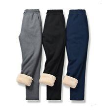 Winter Men's Fleece Lined Pants Straight Trousers Sports Outdoor Elastic Waist