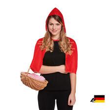 DAMEN RED HOODED CAPE Umhand Rotkäppchen Halloween Fasching Verkleidung  36729