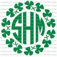 Custom Shamrock Clover Monogram Decal Your Initials 3 Letters Irish Sticker Luck