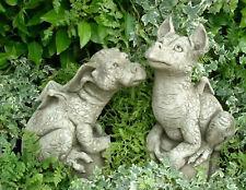 Gartendeko Figur Skulptur Drache Pheeberts by Fiona Scott Steinguss Snap/Puddles