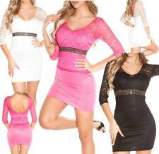 ♥ SeXy Miss Damen Spitze Mini Kleid Strass Edel Abend Stretch Girly Dress XS/S