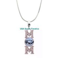 NFL Philadelphia Eagles 925 Sterling Silver MOM Pendant Necklace W/Rhinestones