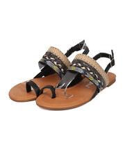 New Women Nature Breeze Dolly-01 Mixed Pattern Toe Ring Slingback Flat Sandal