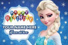 Personnalisé Elsa Frozen fille enfant anniversaire PVC Bannières Outdoor Indoor Imprimé