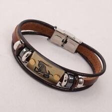 Steampunk Twelve Zodiac Stainless Steel Bracelet Buckle Leather Bracelet Unisex