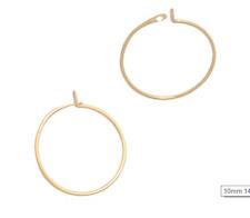 10 12 15 18 mm  14K Yellow Gold Wire Hoop Earring