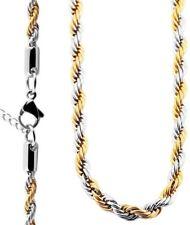 AKZENT Kordelkette Halskette Silber/Gold Bicolor Edelstahl 2mm/50cm & 4mm/70cm